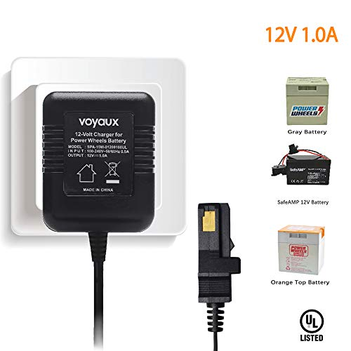 12 Volt Battery Charger for All Power Wheels 12-Volt Ride-on Toys, for Fisher-Price Using The Gray Battery or The Orange Top Battery, UL Cetified (Toy Car Battery Charger)