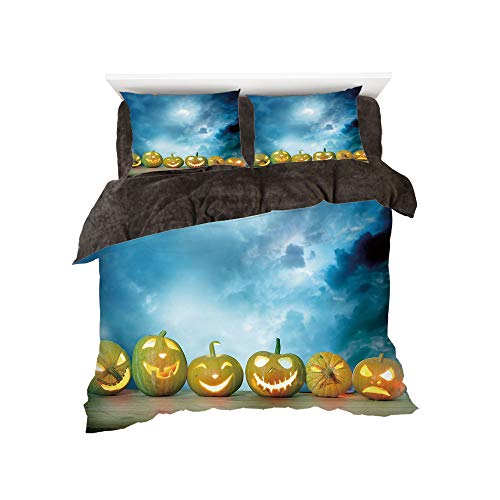 Flannel Duvet Cover Set 4-Piece Suit Warm Bedding Sets Quilt Cover for bed width 5ft Pattern by,Halloween,Spooky Halloween Pumpkins on Wood Table Dramatic Night Sky Print Decorative,Dark Blue Light Bl -