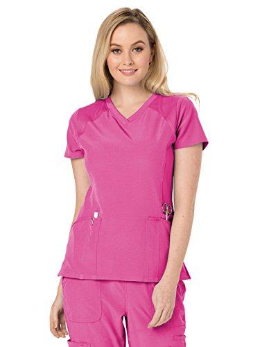 HeartSoul Scrubs Women's HS660 Love 2 Love U Knit Yoke V-Neck Top- Pink Party- X-Large