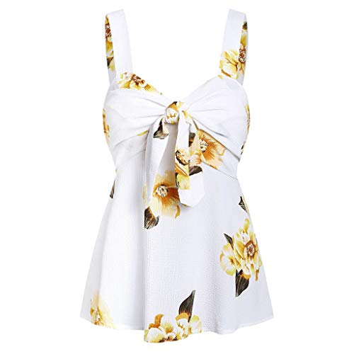 GREFER Blouse with Bow Tie Neck for Women - Sexy Flowy Tank Tops for Women Plus Size - Casual Camis Top Vest Yellow