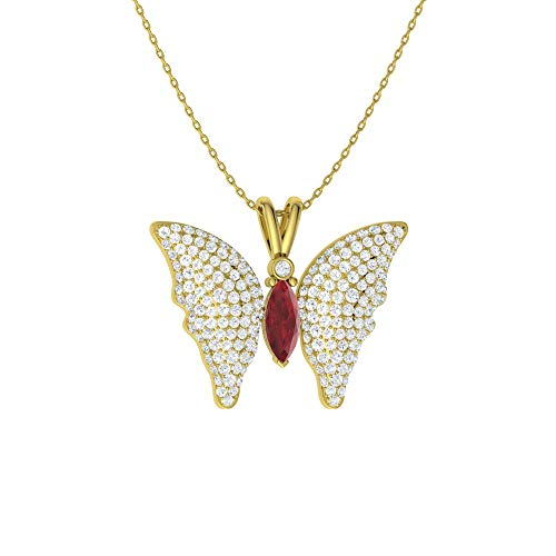 Diamondere Natural and Certified Marquise Cut Ruby and Diamond Butterfly Necklace in 14k Yellow Gold | 1.29 Carat SI1-SI2 Quality Pendant with Chain
