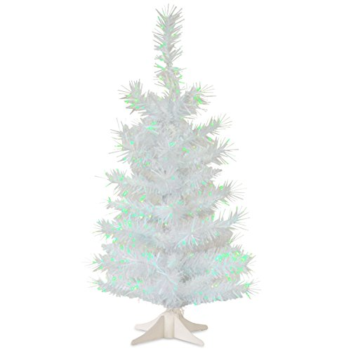 National Tree 2 Foot White Iridescent Tinsel Tree with Plastic Stand (TT33-713-20-1)