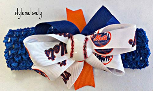 Mets Baby Girl Boutique Bow Crocheted Headband ()