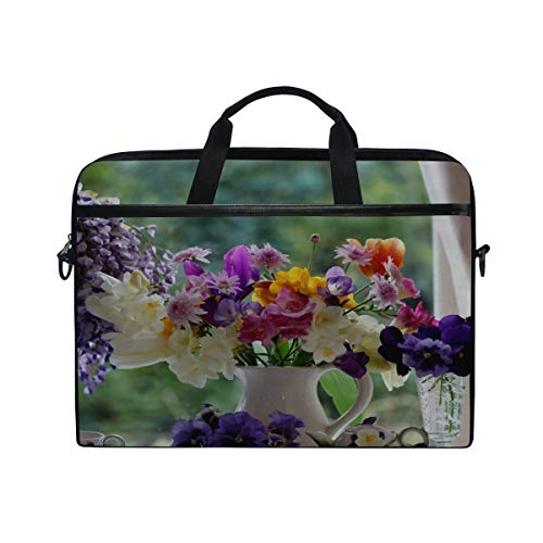 (Rh Studio Laptop Bag with Shoulder Strap Handle Pansies Freesia Tulips Wisteria Flowers Pitcher Porcelain Messenger Bag Case Sleeve for 14 to 15.6 Inch with Adjustable Notebook Shoulder Strap)