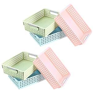 TOYANDONA 6pcs Desktop Storage Basket Multifunction Desk Wire Basket Plastic Rectangular Storage Box Size S Pink Green and Blue