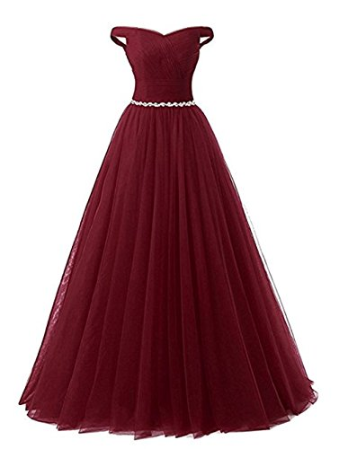 Simple Prom Dresses Long 2019 Beading Sash Tulle Wedding Party Gowns Formal Burgundy,Size 14