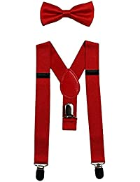 Baby Suspenders and Bow Tie Set Kids Suspender Bowtie Sets Adjustable Suspender Set for Boys and Girls-Red