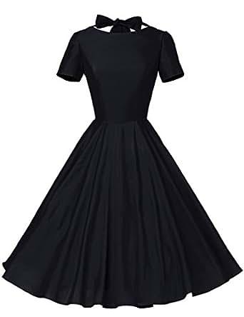 GownTown Womens 1950s Vintage Retro Party Swing Rockabillty Stretchy Dress - X-Small - Black