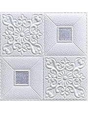 10st 3d klistermärken takvägg klistermärke tak dekoration skum tapet vattentät tv bakgrund tapeter dekoration klistermärke (Color : White silver, Size : 10pcs 35X35cm)