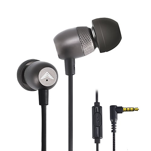 Mic Earbuds (Wired Metal Earbuds | Noise Isolating Mini In Ear Earphones with Mic | Super Bass Stereo Headphones for Iphone Ipad Samsung | Sweatproof Sport Headset for Gym Jogging Workout | Gunmetal Rokerworld R1)