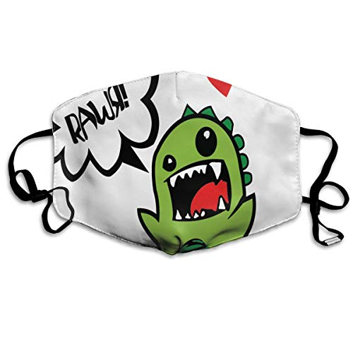 Rawr Face - Adjustable Ear Loops Mouth Mask Dinosaur Gallery Rawr Anti-dust Face Mask Washable Dustproof Anti-Bacterial Masks Polyester Breath Safety Warm Outdoor Masks for Men and Women