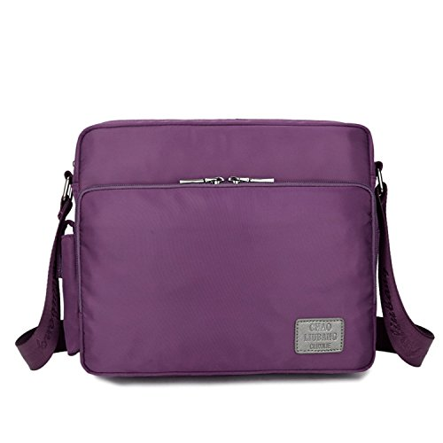 Outreo Vintage Bolso Bandolera Messenger Bag Bolsos Mujer Bolsa Hombre Bolsos Originales para Escolares Colegio Libro Tablet Nylon Bolsas Morado