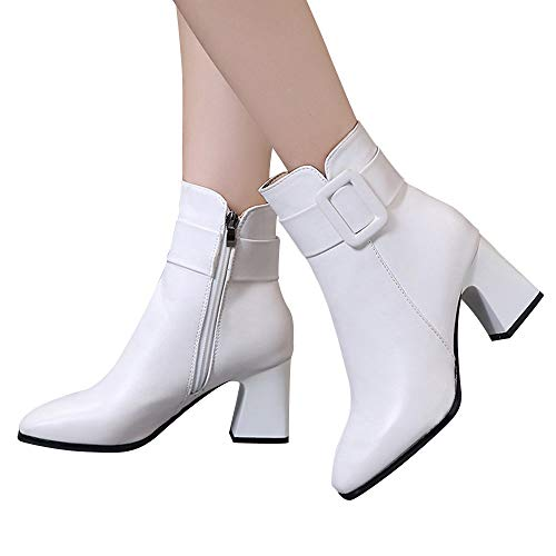 White Heel Boots (Outtop(TM) Women Winter Martain Boots Lady High Heel Short Ankle Booties Shoes (US:7.5, White))