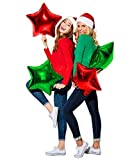 Merry Christmas Balloons Party Decorations in Metallic Red and Green Balloons Star Foil Mylar Balloon Bulk Pack for Arch Column Stand New Year School Office