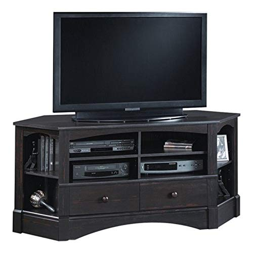 """Sauder 402902 Harbor View Corner Entertainment Credenza, For TV's up to 60"""", Antiqued Paint finish"""