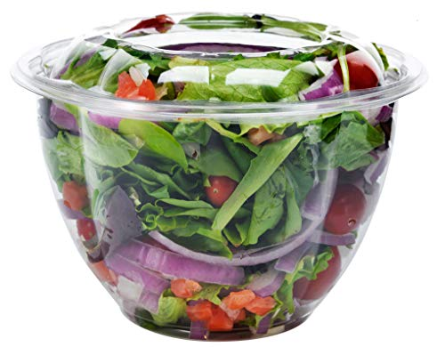 - DOBI (50 Pack) Salad Container for Lunch, 48oz - Clear Plastic Disposable Salad Bowls with Lids, Large Size