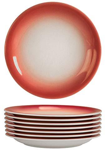 Bestone Dinner Plates 8-Piece Set Ceramic,Red