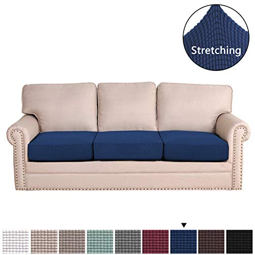 H.VERSAILTEX Super Stretch Stylish Furniture Cover/Cushions Covers Slipcover Spandex Jacquard Small Checked Pattern Super Soft Slipcover Machine Washable Individual (3-Piece Sofa Cushion, Navy) (Cushion Set Sofa)