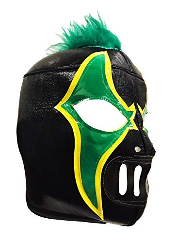 CRAZY CLOWN Adult Lucha Libre Wrestling Mask (pro-fit) Costume Wear - Black/Green]()