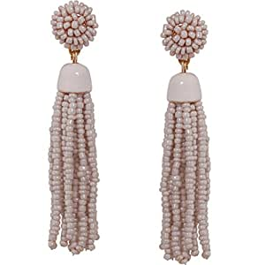 Humble Chic Women's Lightweight Soiree Tassel Earrings - Grey Beaded Fringe Drop Statement Dangles,