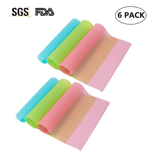 Refrigerator Pad 6 PCS Shelf Liners Can Be Cut Refrigerator Mats Antibacterial Antifouling Mildew Moisture Absorption Pad Multifunctional Vegetable Fruits Fresh Pad Fridge Pads Drawer Table (Refrigerator Liners)