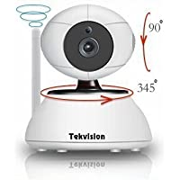 Tekvision Plug & Play Easy Set Up Megapixel 720p HD Wireless Pan/Tilt 2-Way Audio IP Camera Day Night Vision