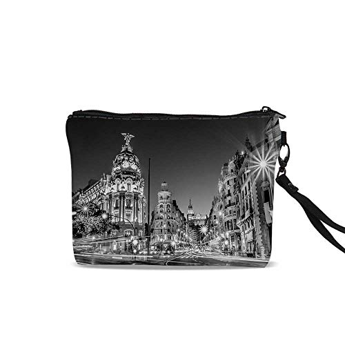 "Black and White Decorations Cosmetic Bag Storage Bag,Madrid City Night Spain Main Street Ancient Architecture Decorative For Women Girl,9""L x 1.5""W x 6.2""H"