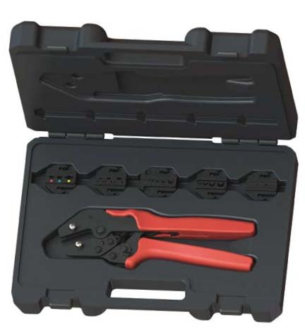 ConnectoRF Ergo Design Quick Change Ratchet Crimping Tool Kit For Wire Terminals With 5 Die Sets by ConnectoRF