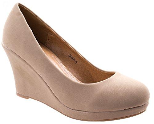 - Top Moda Women's Soap-1 Beige Classic Almond Toe Slip On Low Wedge Heel Pumps 8.5 D(M) US