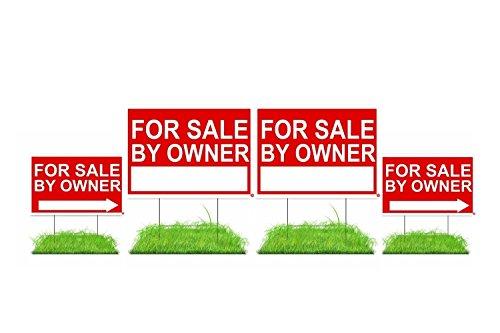 "For Sale By Proprietor Sign Kit (FSBO) - Premium Double-Sided Waterproof Signs with Stakes - Reusable 4 Pack Signs - (2) 12""x18"" + (2) 18""x24"" With Directional Arrows"