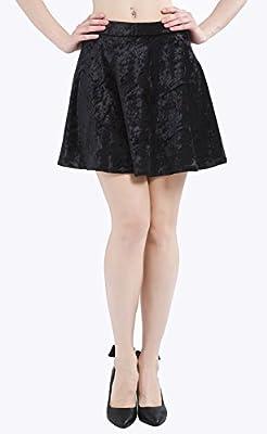 Deeyomi Women's Velvet Flared Casual Mini Skater Skirt With Back Zipper