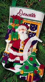Santa's List 18 Felt Applique Stocking Kit #8095 Dimensions