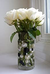 95 Jumbo and Assorted Sizes Black Pearls and White Pearls with Gems Accents Vase Fillers Value Pack - NOT INCLUDING the Transparent Water Gels for Floating the Pearls (Sold Separately)