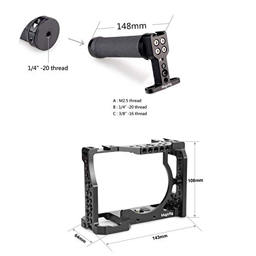 MAGICRIG Camera Cage with Top Handle Grip for Sony A7RIII /A7III /A7SII /A7M3 Camera to Quick Release Extension Kit