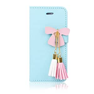 Butterfly Tassel Pu Leather Wallet Credit Card Slots Case for Apple Iphone 4 4s (Sky blue)