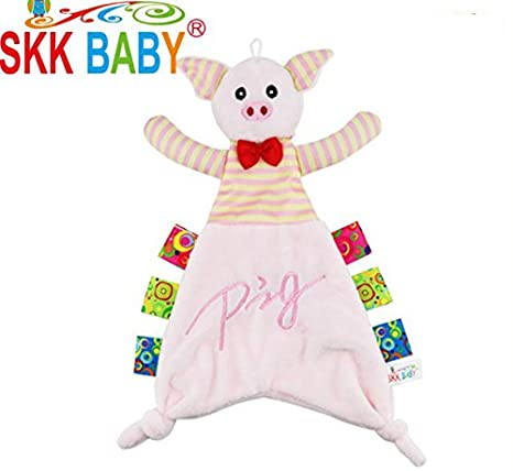Lizes Manta de edredón para bebés y niñas Edredón de Juguete Marioneta de Mano Toalla de Mano Suave Peluche de Cerdo Toy_Pink Toalla Suave apaciguar: ...