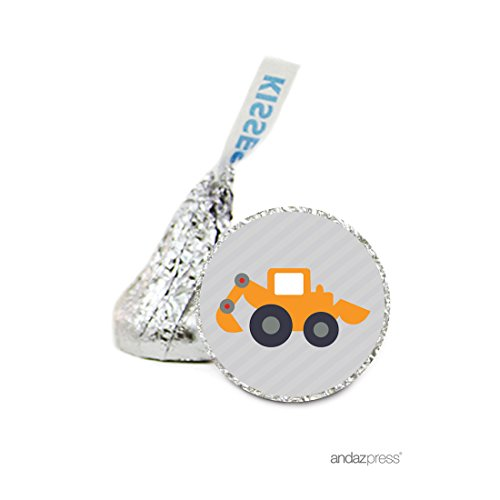 Andaz Press Chocolate Drop Labels Stickers, Birthday, Construction Truck Digger, 216-Pack, For Hershey's Kisses Party Favors, Gifts, Decorations
