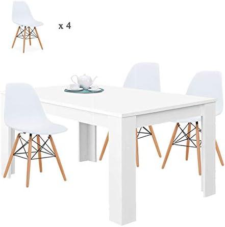 HABITMOBEL Pack Mesa de Comedor Extensible + 4 Sillas diseño, de 140 a 190 cm, Blanco Brillo: Amazon.es: Hogar