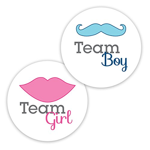 40 - 2'' Gender Reveal Stickers, Team Boy and Team Girl Stickers - New Design (#119N) by Orange Umbrella Co