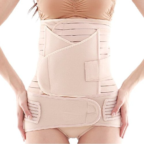 Postnatal Belt (Healthcom Postpartum Postnatal Recoery Support Girdle Belt Post Operative Belly Wrap 3 in 1 Breathable Elastic Strip for women and Maternity,Nude(Size:XL))