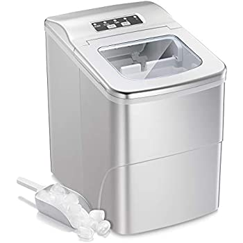 AGLUCKY Portable Ice Maker Machine Stainless Steel Covers,Countertop Automatic Ice Maker,26lbs/24hr,9pcs S/L Size Ice Cube Ready in 6-13 Mins,1.5lbs Ice Storage with Ice Scoop,Indicator Function,White
