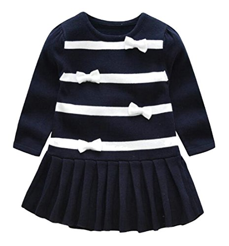 Wofupowga Girls Summer Comfort Bowknot Long Sleeve Pleated Crew Neck Knits Dress Royal Blue 5/6 by Wofupowga