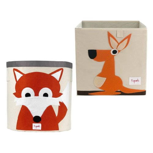 3 Sprouts Nursery Storage Bin & Box, Fox/Kangaroo