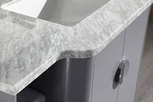 Eviva EVVN800-48GR Plus Vienna 48'' Satin Luxuries Modern Bathroom Vanity With Carrera Marble Top & Porcelain Sink, Grey by Eviva (Image #4)