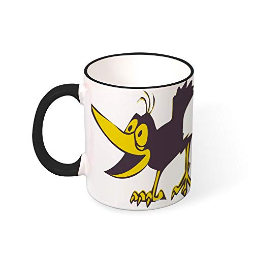 DKISEE Coffee Mug Tee Cup Funny Toucan Coffee Mugs Restaurant Coffee Mugs Color Mug Mouth and Handle Black 11OZ