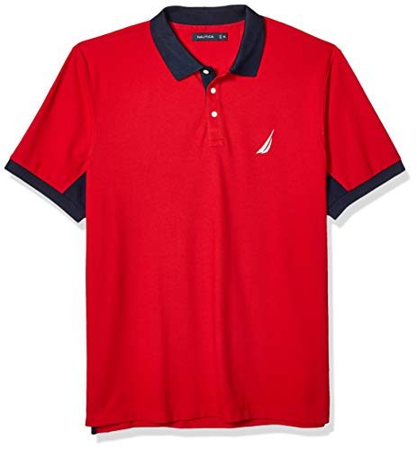 (Nautica Men's Classic Fit Short Sleeve Performance Pique Polo Shirt, Red, X-Large)