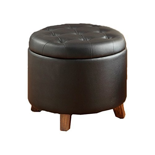 Poundex PU Ottoman with Storage, Black