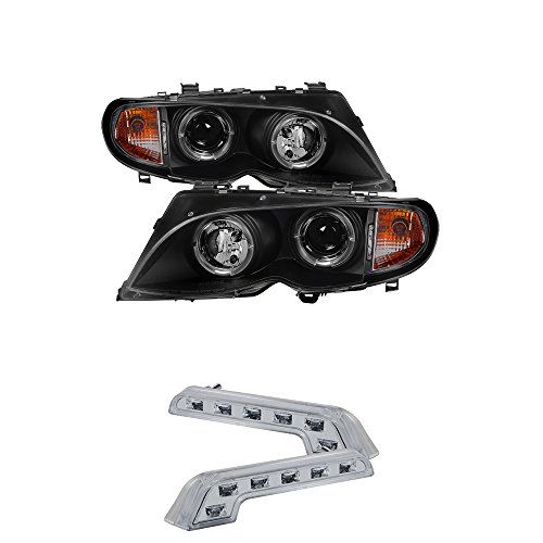 (BMW E46 3Series 4DR Projector Headlights 1PC LED Halo Black Housing With Clear Lens)