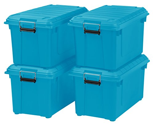 IRIS 82 Quart Weathertight Storage Box, Store-It-All Utility Tote, 4 Pack, Teal