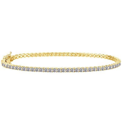 Jewel Zone US White Cubic Zirconia Tennis Bracelet in 14k Yellow Gold Over Sterling Silver